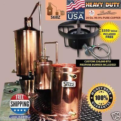 StillZ 50 Gallon Copper Moonshine Still with Custom 220,000 BTU Propane Burner