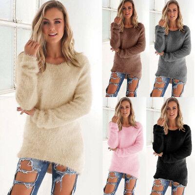 US New Womens Warm Long Sleeve Crew Neck Top Pullover Sweater Jumper Sweatshirt