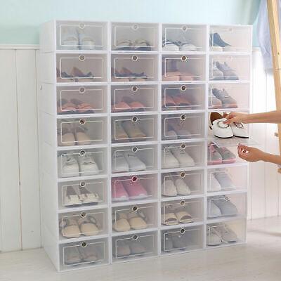 SneakNeat™ Shoe Box Set Foldable Plastic Clear Stack Drop Front Organizer White White Shoe Organizer
