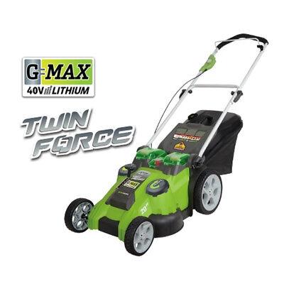 "Greenworks 40V G-Max Li-Ion 20"" 2-in-1 Twin Force Mower 25302 New"
