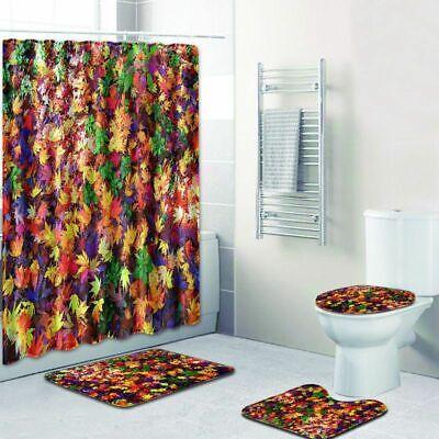 Autumn Shower Curtain Fall Maple Leafs Tree Leaves Cloth Fabric Bath Decor Rug Leaves Bath Rug