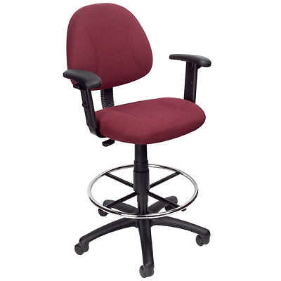 Burgundy Medical Drafting Office Chair Stool Wfootring