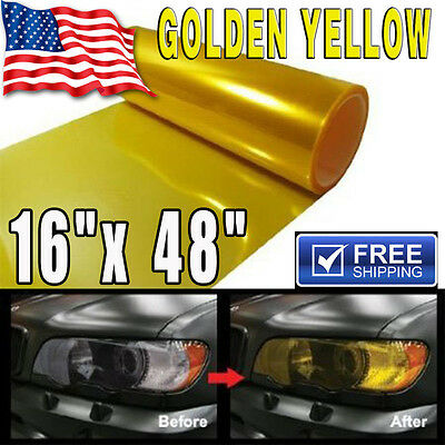 Gloss Golden Yellow Smoke HeadLight Tailight Fog light Tint Film Sheet -16