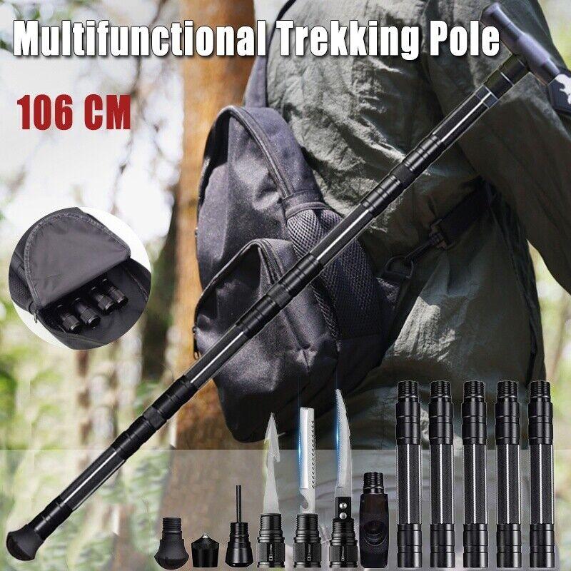 Portable Survival Walking Cane Trekking Poles Multifunction Defense Alpenstock