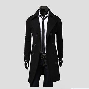 Mens Trench Coat Slim Winter Warm Long Jackets Outwear Double Breasted Overcoat