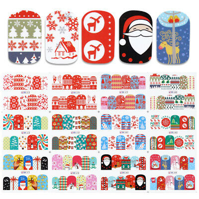 (12patterns Water Decals Christmas Tree Snowflakes Gift Nail Art Transfer Sticker)