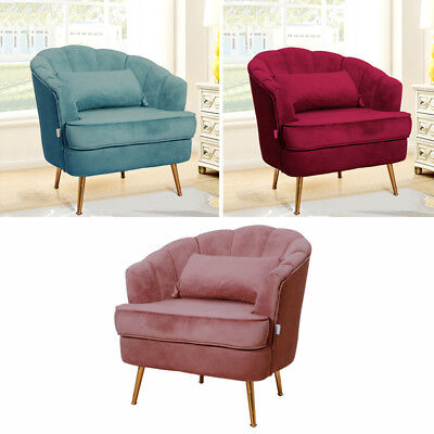 Fabric Velvet  Sofa Chair Shell Curved Accent Occasional Armchair With Cushion