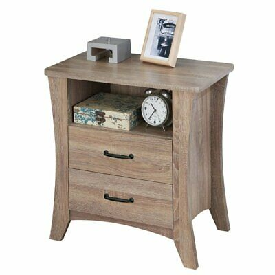 - ACME Colt 2 Drawer Nightstand in Rustic Natural