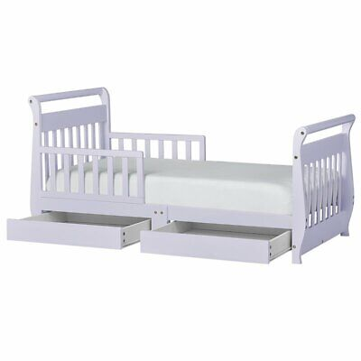 Dream On Me Sleigh Storage Toddler Bed in Lavender Ice