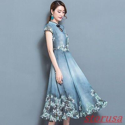 Ladies Chinese Style Retro Slim Chiffon Qipao cheongsam Floral Printed Dresses