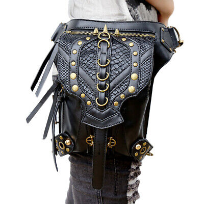 Steampunk Vintage Women Pu Leather Waist Bag Shoulder Leg Bag Halloween Cosplay