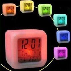 7 Colour LED Change Digital Glowing Alarm Clock Night Light Bedroom Decor Kids