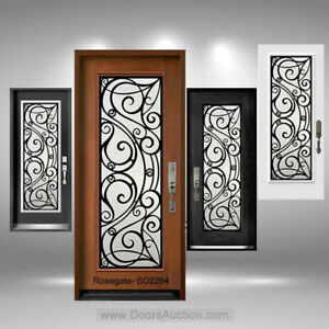 Solid wood door with glass and steel design in middle.