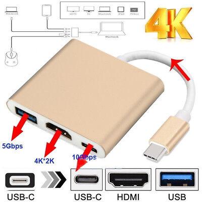 USB Typ C 3.1 Hub HDMI Adapter 4K USB 3-in-1 Multiport Typ C zu HDMI Konverter
