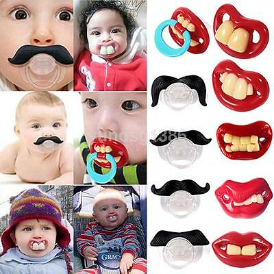 Funny Baby Pacifiers (Orthodontic Baby Infant Newborn Funny Mustache Pacifier Binky Pacifiers Dummy)