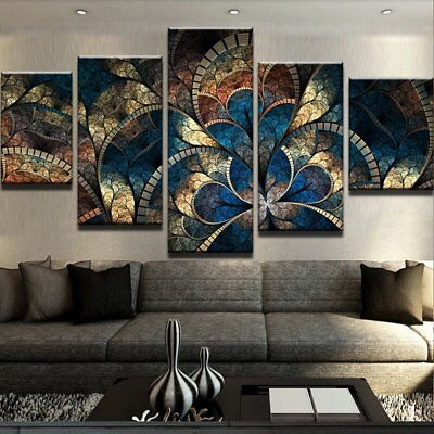 Abstract Fantasy Flowers 5 piece canvas Wall Art Home Decor Picture Print  ()