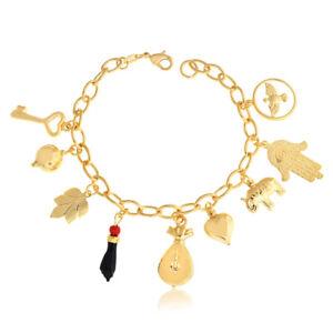 14k Gold Filled Azabache Bracelet Evil Eye Protection Lucky Charms 7.5 Oro Women