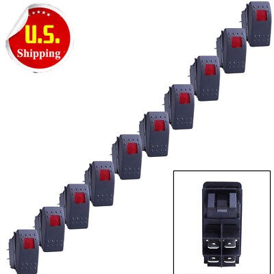 10 X Waterproof Marine Boat Car Rocker Switch 12v Spst On-off 4pin 4p Red Led