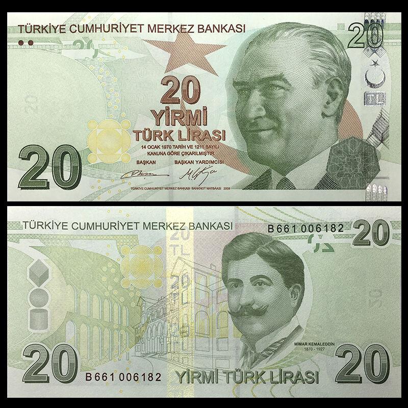 Prefix C  UNC Banknote 2012 Turkey 20 Lira p-224b 2009