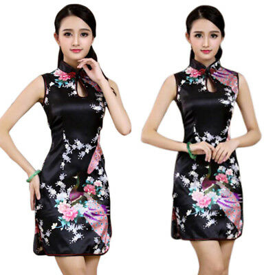 US Chinese Women's Slim Qipao Dress Lady Floral Cheongsam Cocktail Party Dresses