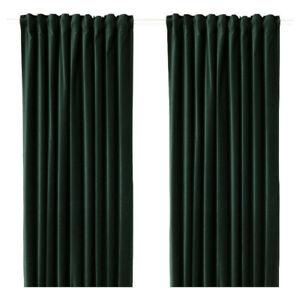 4 rideaux neufs, vert velours Ikea Sanela, 250 cm