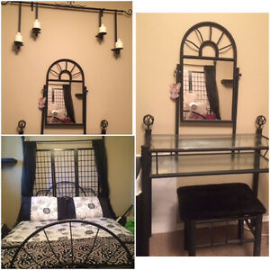 Metal bed frame head and foot board, makeup vanity and chair