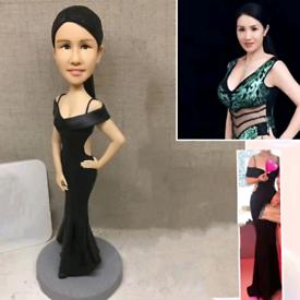 Custom Handmade Your 3D Minime Art Doll elegant dress sleek lady