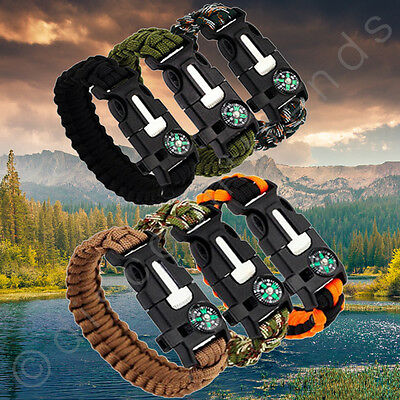 Paracord Survival Bracelet Compass/Flint/Fire Starter/Whistle Camping Gear/Kit - Paracord Compass