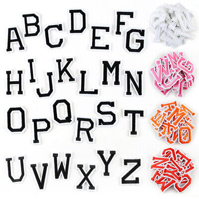 Letter Badges Embroidered Iron on Patch DIY Name Tags 26 Alphabet Emblems A-Z - Diy Name Tags