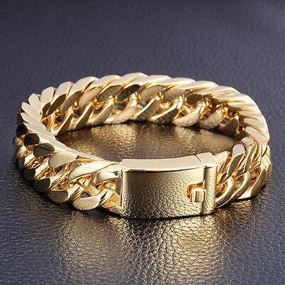 "Classic 8.5"" 14mm 18K Gold Men's Jewelry Stainless Steel Cuban Chain Bracelet"