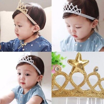 Cute Baby Stirnband Geburtstag Krone Kopfschmuck Gold Tiara elastische Headwear ()