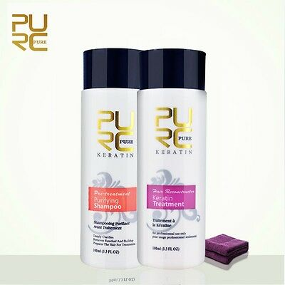 Pure Brazilian Keratin Hair Set Straightening and Repair Treatment 2 x 100ml