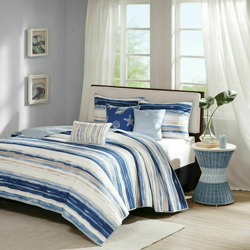 Madison Park Marina 6 Piece Quilted Coverlet Set, Blue, Cal