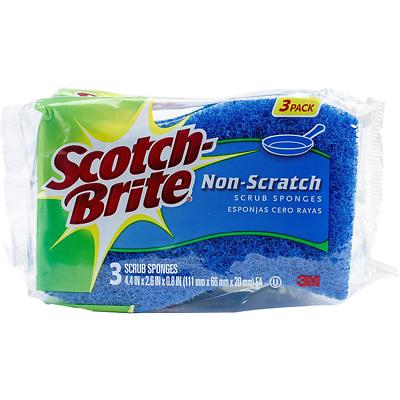 Scotch-Brite Non-Scratch SCRUB SPONGES 3 ct Multi-Purpose Reusable MP-3-8-D NEW
