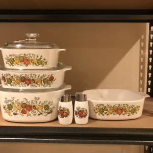 Pyrex Spice of Life casserole dishes and salt and pepper shakers