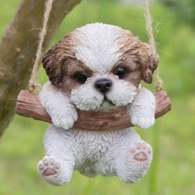 (Hanging SHIH TZU Puppy Dog - Life Like Figurine Statue Home Garden NEW)