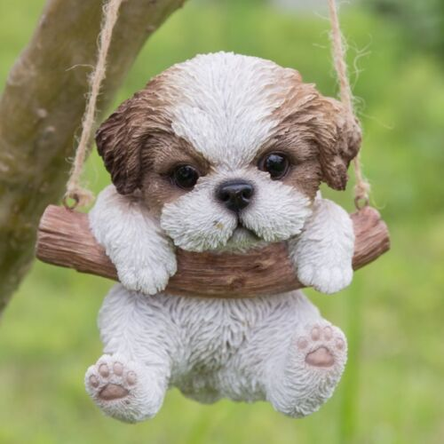 Hanging SHIH TZU Puppy Dog - Life Like Figurine Statue Home Garden NEW
