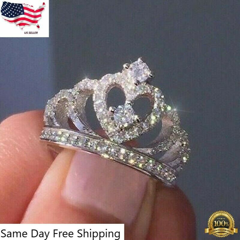 Jewellery - Women Crown Jewelry 925 Silver Rings White Sapphire Wedding Ring Size 6-10