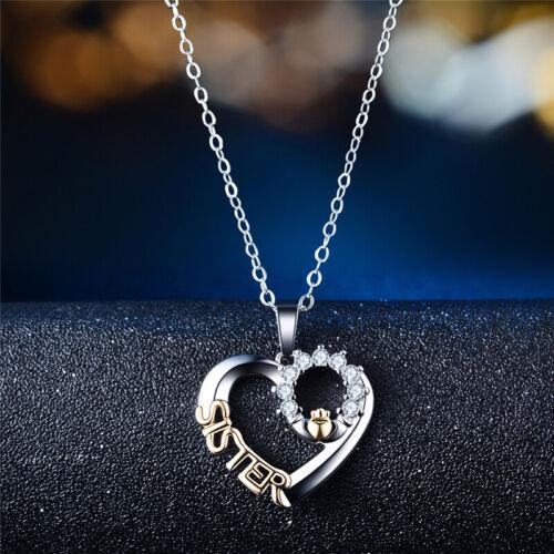 Women Heart Zircon Necklace Pendent Birthday Christmas Gift