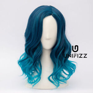35CM Short Wavy Mixed Blue Lolita Fashion Japanese Wig Heat Resistant + Wig Cap