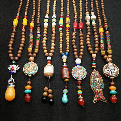 Retro Wood Beads Necklaces Stone Pendant Long Sweater Necklace Women Jewelry HU
