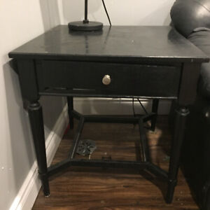 Black end table with drawer