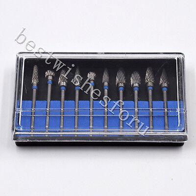 10pc Tungsten Acrylic Steel Dental Burs Carbide Burr Mix-type Drill Marble Grind