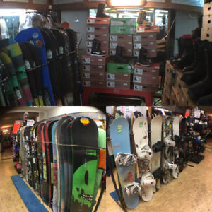 New and used snowboards covered