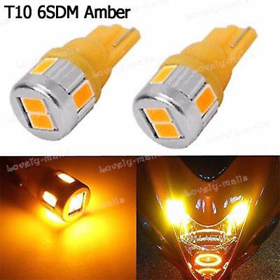 4pcs W5W 501 T10 Wedge Amber Yellow LED Marker Corner Signal Light Bulbs 194