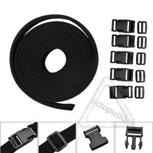 1 Inch Polypropylene Webbing: Black Nylon Strap 4 yards/4m/13ft Buckles Slides