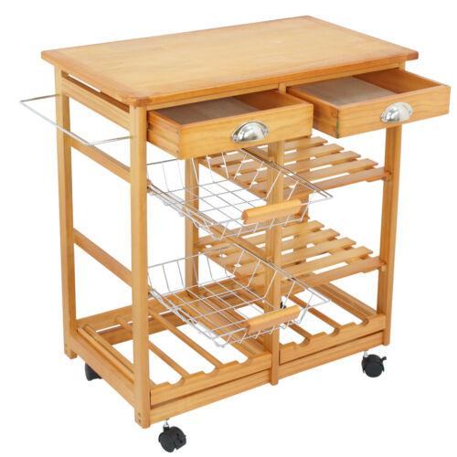 Wooden Kitchen Utility Island Cart w/ Shelves Drawers Trolley Storage Rack Home & Garden