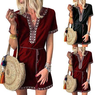 Women Vintage V-Neck Mini Dress Ladies Summer Boho Sundress Holiday Casual Beach