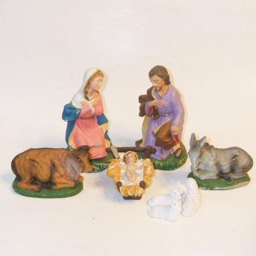 8 Piece Lot Vintage Nativity Figurines Paper Mache Plaster Made in Italy