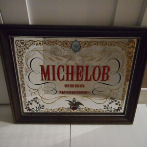 VINTAGE FRAMED MICHELOB BAR MIRROR